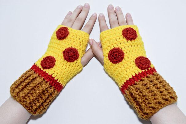 Fingerless Salami Pizza Gloves