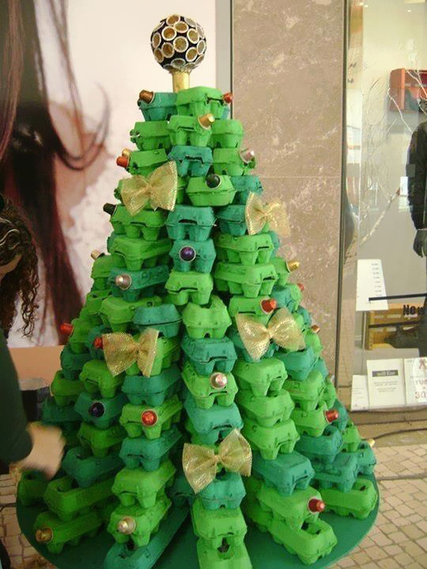 Christmas Tree From Used Egg Boxes