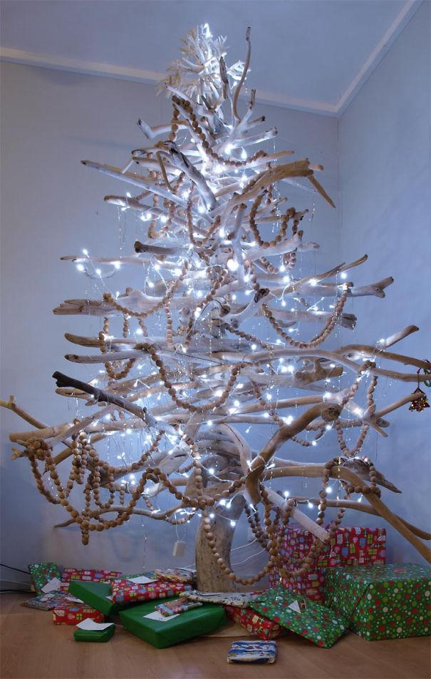 4 christmas tree made from branches