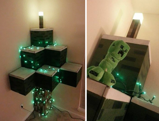 Minecraft-Inspired Christmas Tree