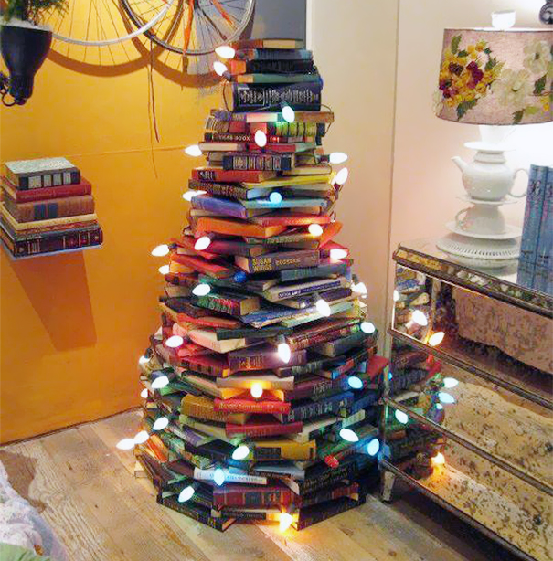 Stacked Books Christmas Tree