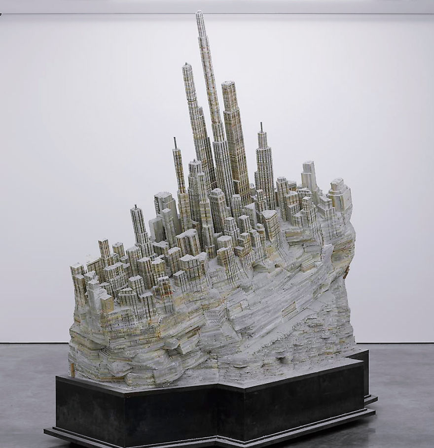 Massive Book Sculpture Of An Abandoned City