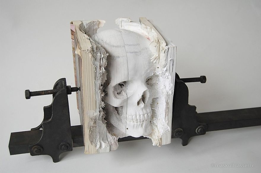 Skull Book Sculpture