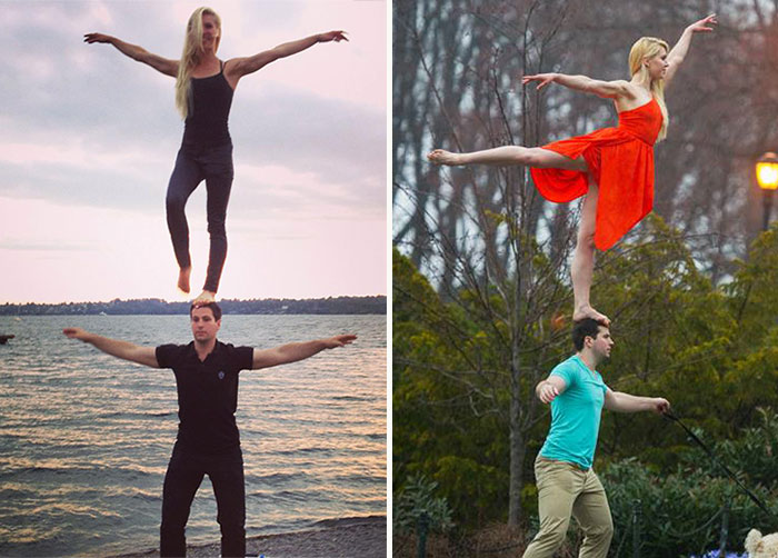 This Girl Stands On Her Fiancées Head On Their Trips  Around The World