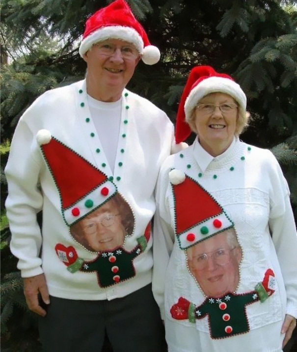 4 couples ugly christmas sweaters - Hilarious Ugly Christmas Sweaters