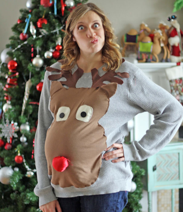 Rudolph Ugly Christmas Sweater For A Mom-To-Be