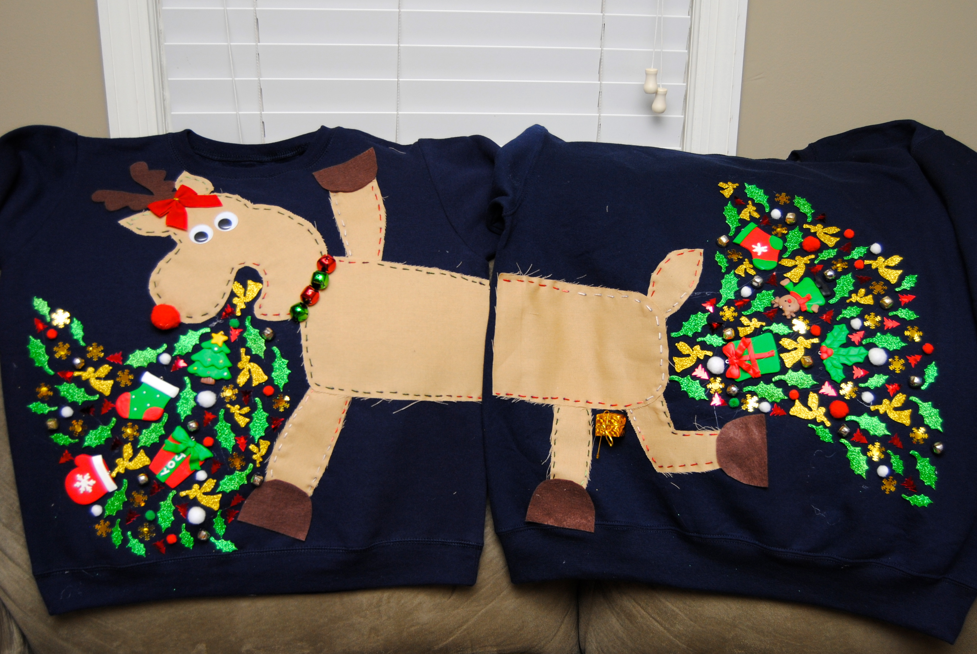 Couples Reindeer Ugly Christmas Sweater