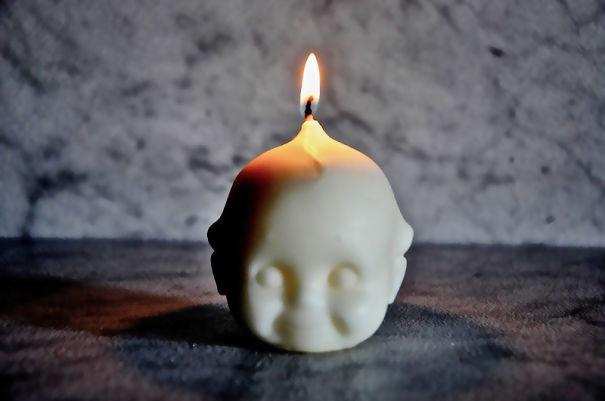 Creepy Baby Head Candle