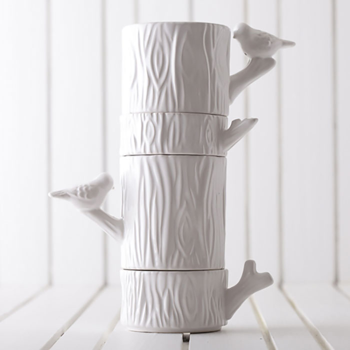 Tree With Birds Stacked Cups
