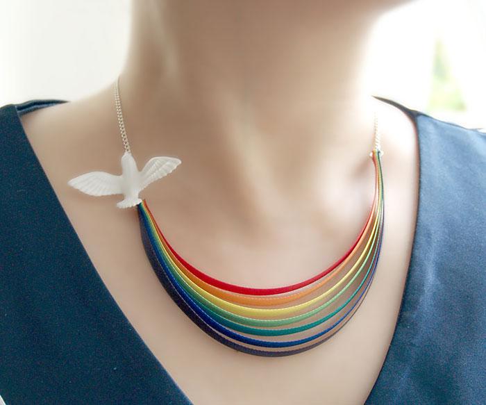 Rainbow And Bird Necklace