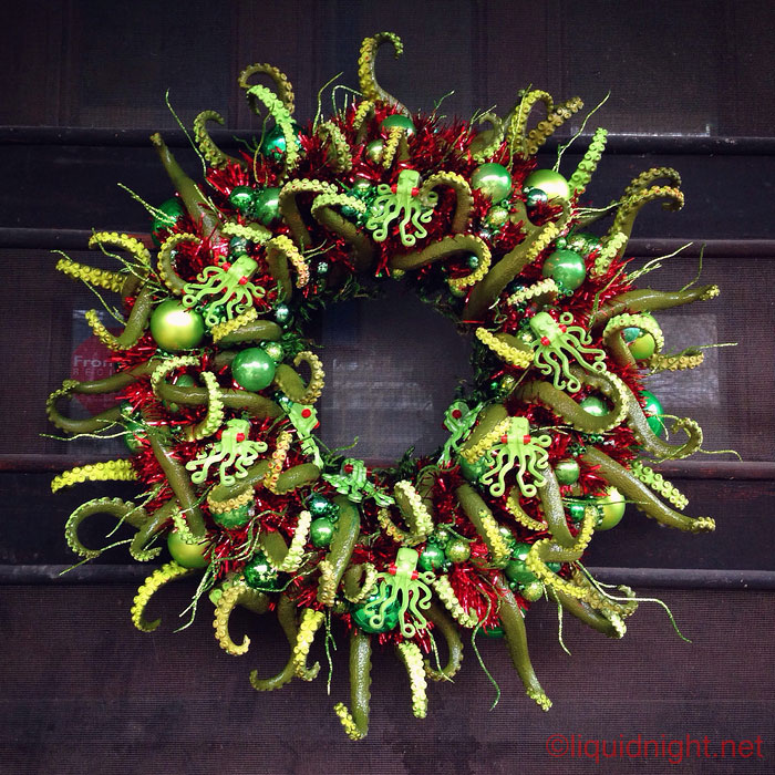 I Just Completed My Cthulhu-Themed Christmas Wreath. So Many Tentacles. Merry Cthulhumas!