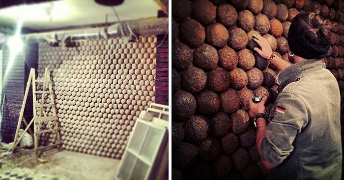 I Made A Wall Of 729 Rusty Cannonballs