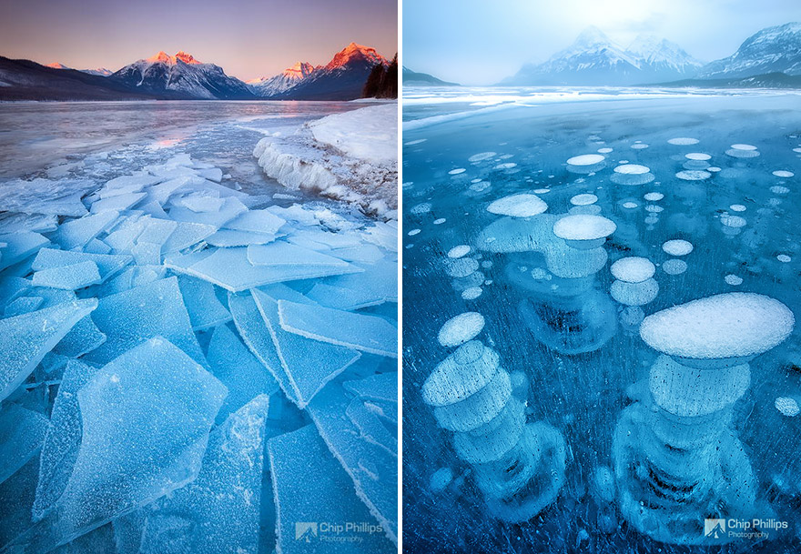 Lake McDonald In Montana, USA & Abraham Lake In Canada