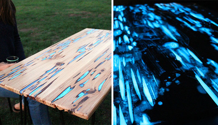 Guy Shows How To Make Glow-In-The-Dark Table With Photoluminescent Resin