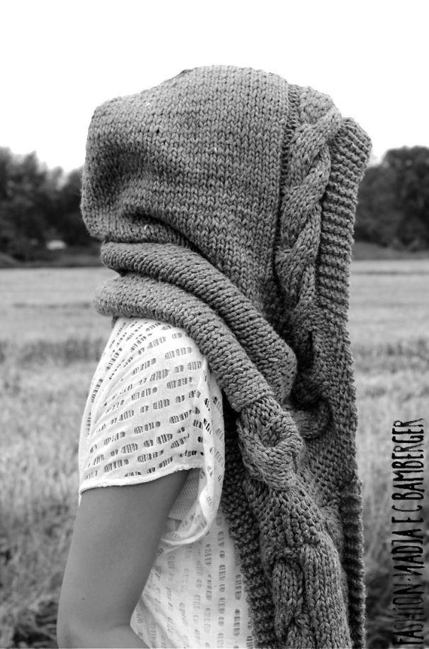 Hand-knitted Hooded Scarf