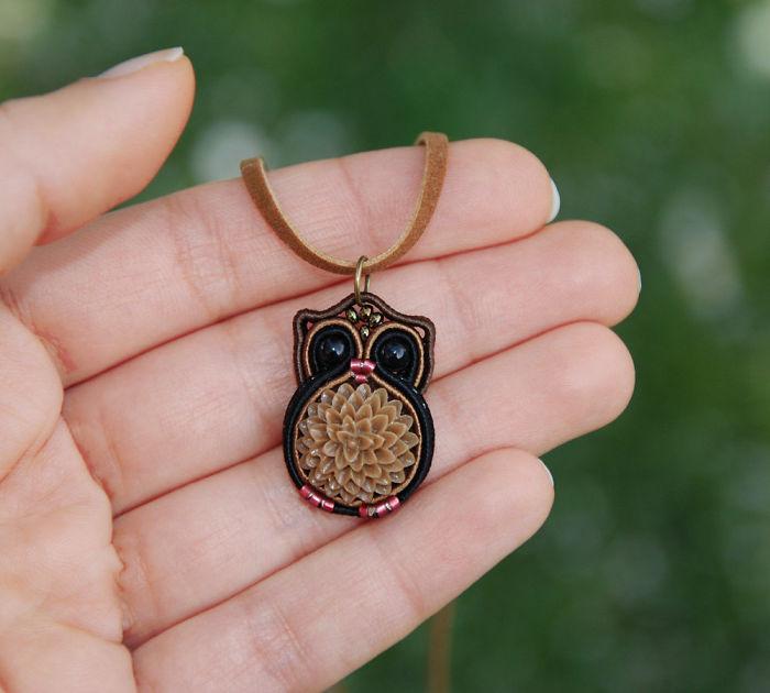 Fiber Owl Necklace