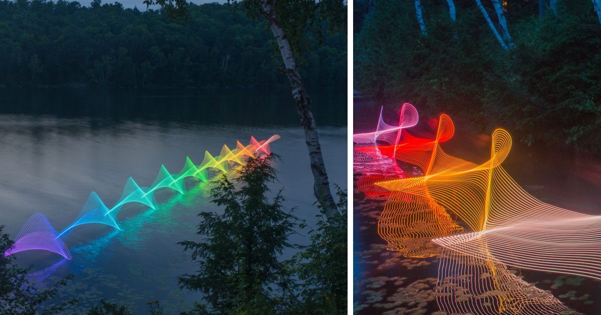 The Motions Of Canoers and Kayakers Revealed With LEDs In Long Exposure Photography