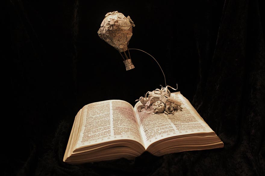 Hot Air Balloon Book Sculpture
