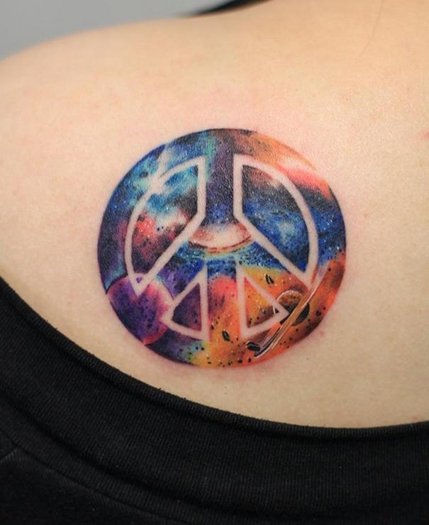 Space Peace Tattoo