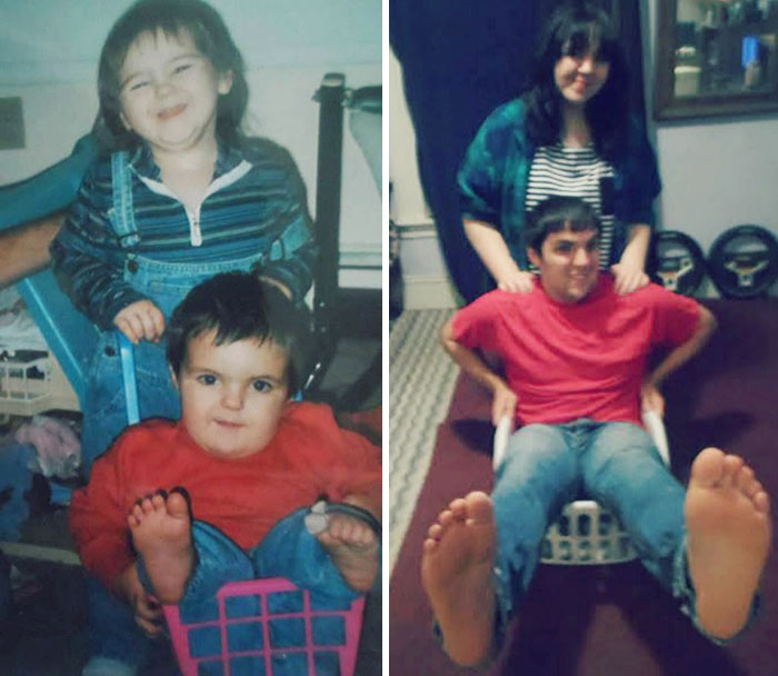 We Recreated Childhood Photos As Christmas Gift For Our Ailing Mother