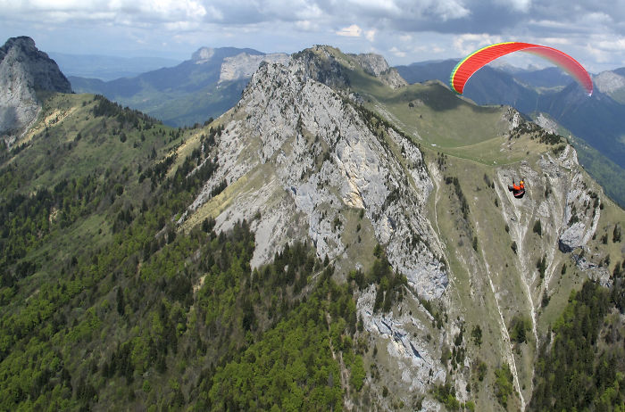 Tim Bishop Ahead Of Me On A Cross Country Paraglider Flight Near Annecy, France. Brian Steele.