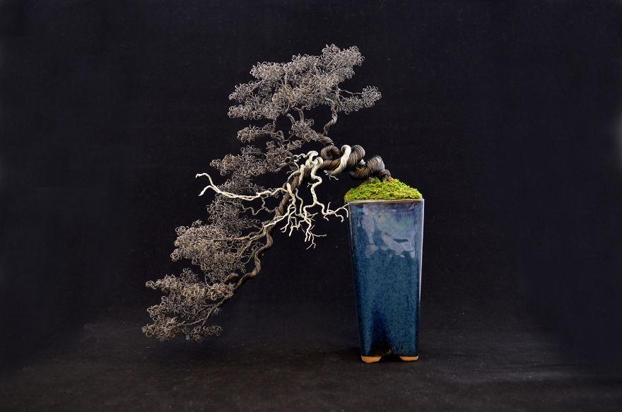 "Semi Cascade Wire Bonsai Sculpture From ""bonsire"""