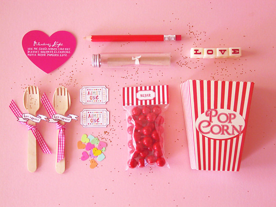 Valentine Popcorn Invitation