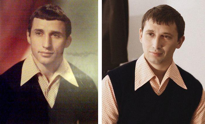 Father And Son. Same Age, Same Shirt.