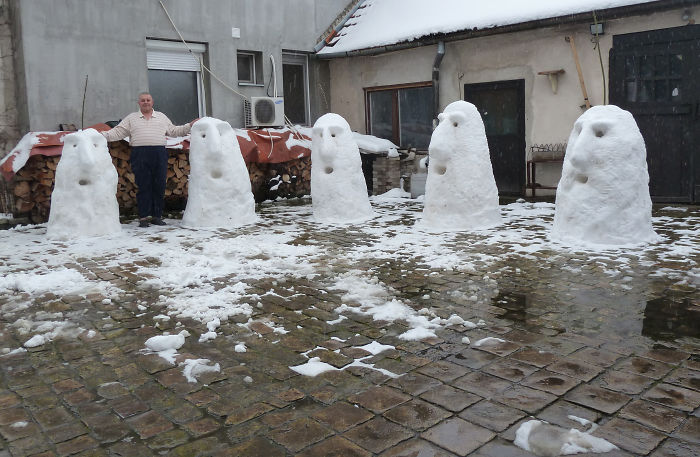 Snow Totems In Subotica