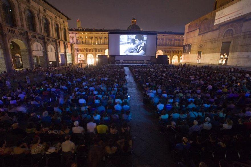 Sotto Le Stelle Del Cinema, Open-air Cinema In Bologna's Piazza Maggiore, Italy