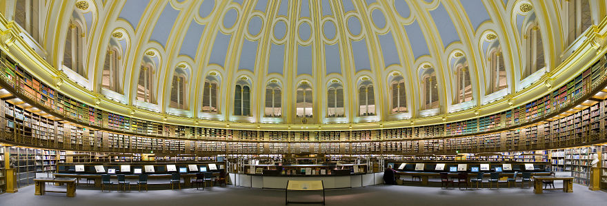 An Almost 180-degree Panoramic View Of The British Museum Reading Room.