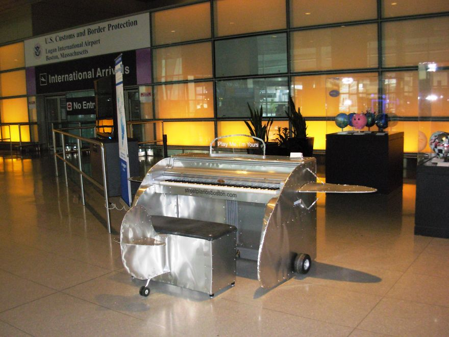 Airplane Piano, Logan Airport, Boston, Ma By William Turville
