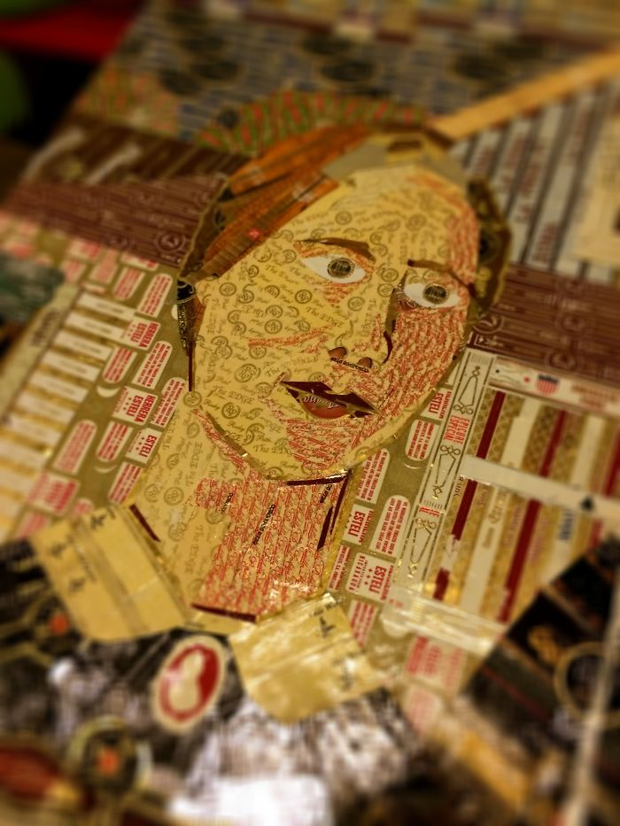 Detailed Paper Mosaics Made From Cigar Bands