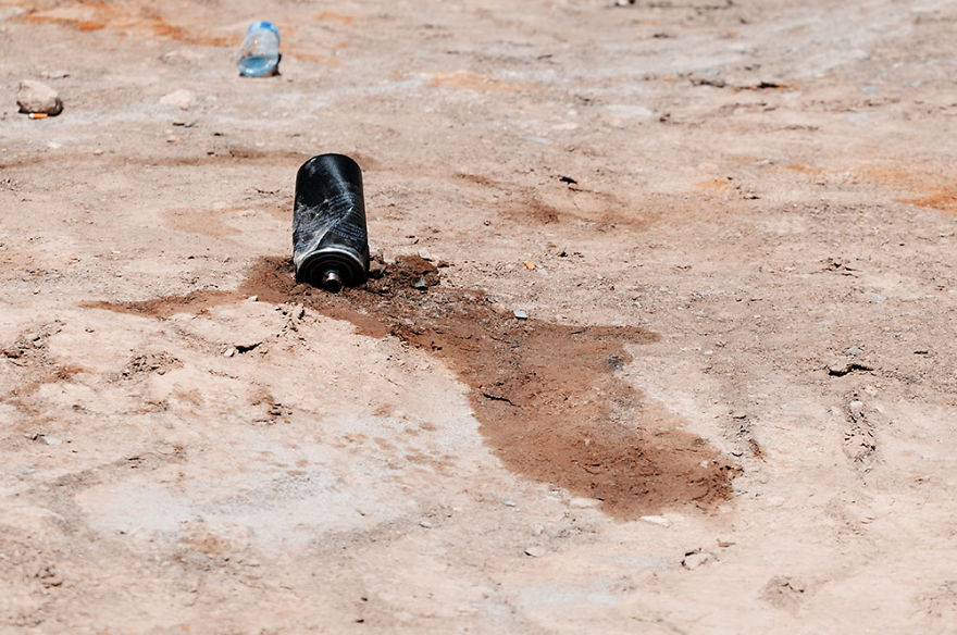 Discarded Chemicals Seep In To The Soil - Pamir Mountain Range, Xinjiang.