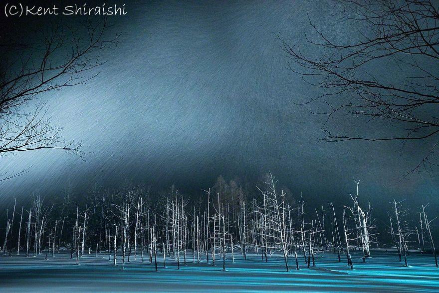 The Frozen Blue Pond In Snow,hokkaido