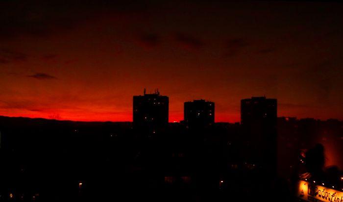 Bulgarian Sunset Through My Window