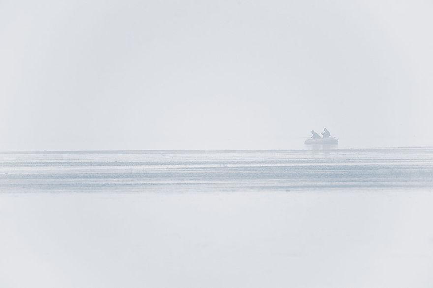 Fishermen Brave Heavy Smog Over A Natural Beauty Spot - Jixian, Tianjin.