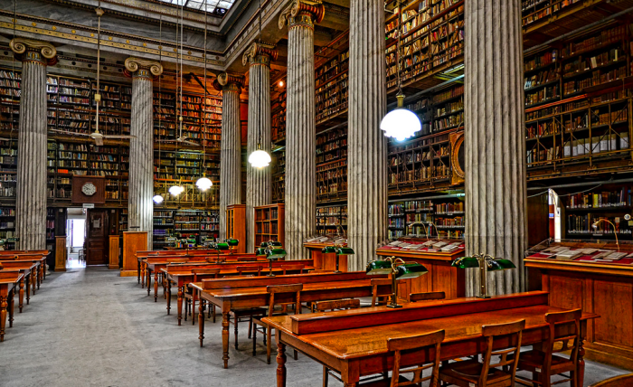 The 19th Century National Library Of Greece In Athens
