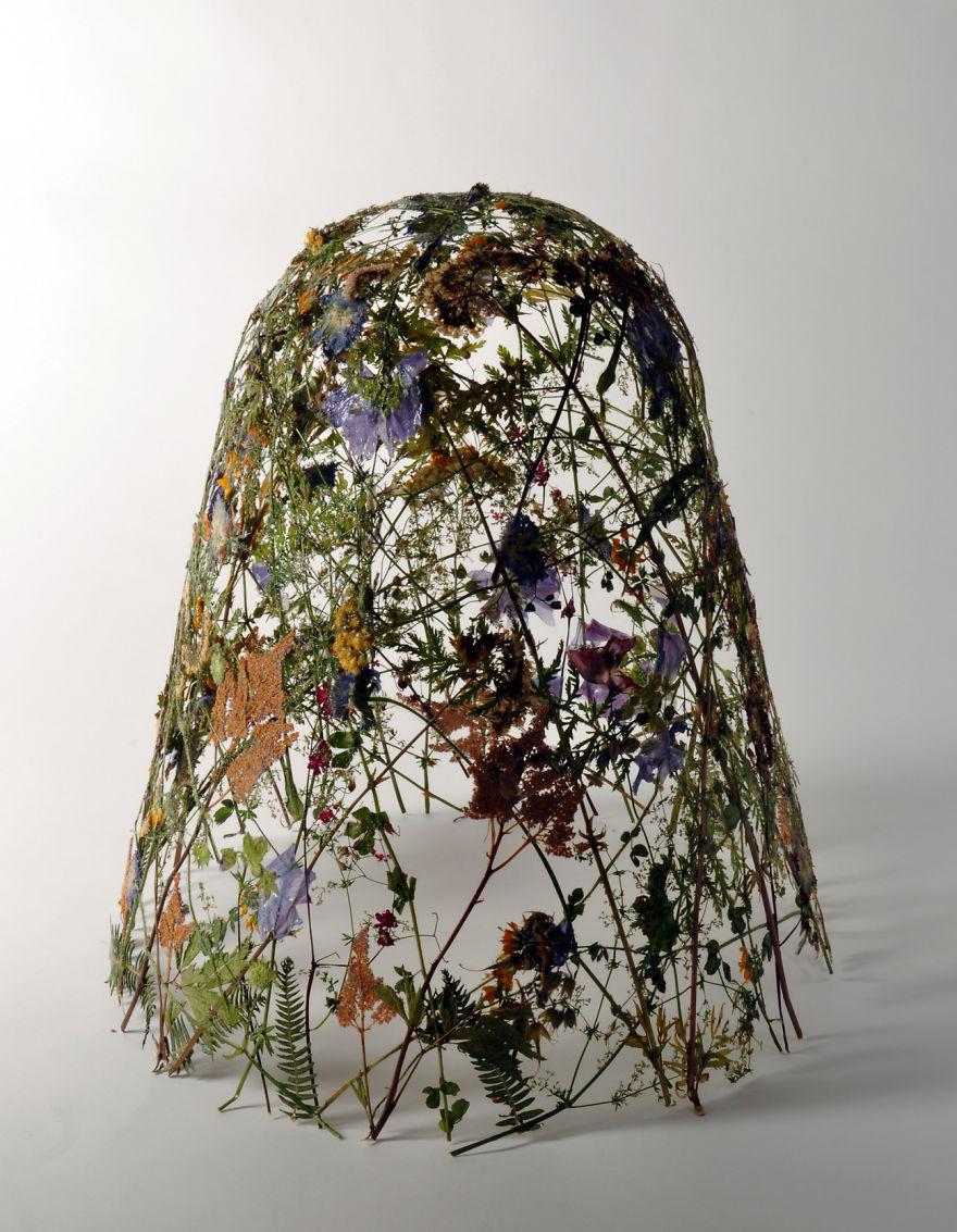 Spanish Artist Creates Delicate Pressed Flower Sculptures