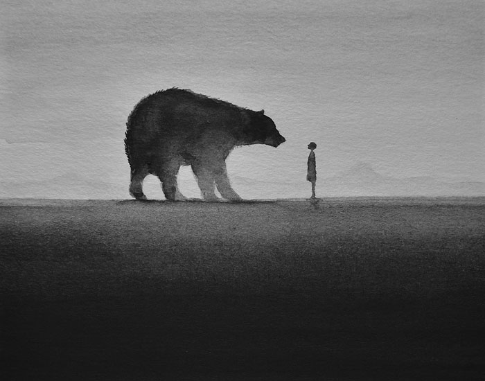 Poetic Black And White Watercolors Of Children With Wild Animals