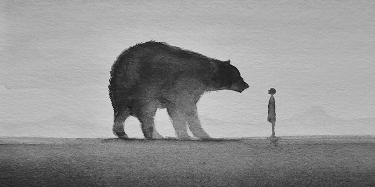 poetic black and white watercolors of children with wild
