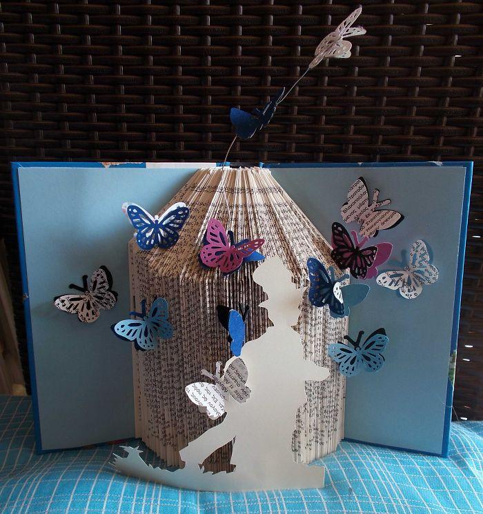Boy With Butterflies Book Sculpture