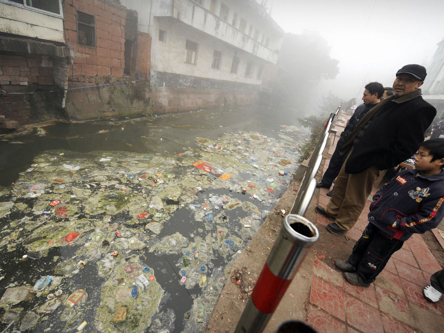 Residents Look At A Heavily Polluted River, Zhugao, Sichuan province