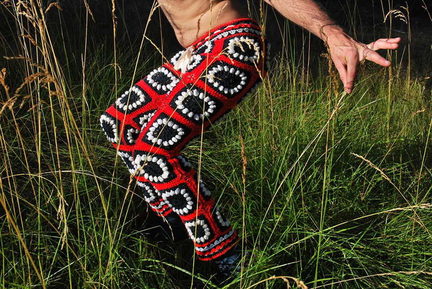 New Fashion For Men Crochet Shorts Made From Recycled Vintage