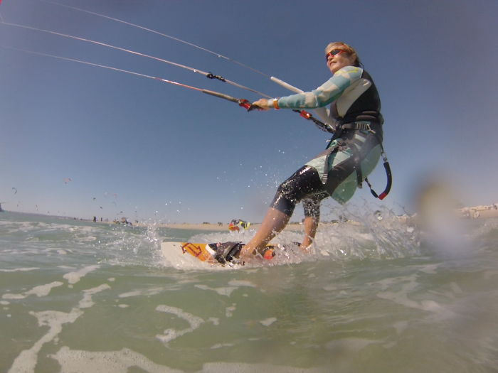Kite Surf Granny. Gerthy Baars At 64 Can Be Found Kite Boarding In Tarifa; Cape Town And Brazil