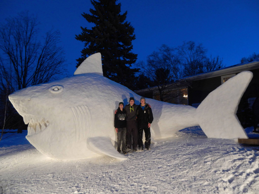 Every Year, These 3 Brothers Make A Giant Snow Sculpture In Their Front Yard