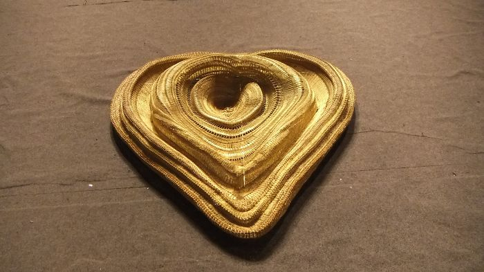 Intricate Gold Wire Heart By Traditional Slovakian Wiremaster Juraj Serik