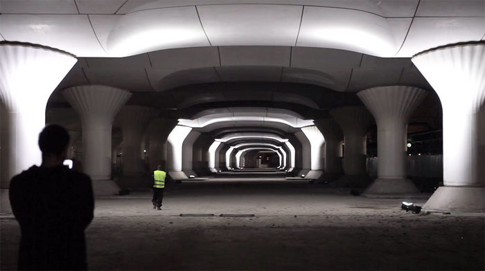 Spanish Artist Turns Abandoned Train Station Into Blinding Light Installation