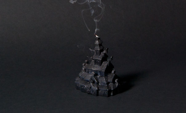 Stave Church Candle (true Norwegian Black Candle)