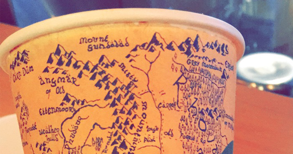 guy spends 5 hours drawing detailed map of middle earth from lord of the rings on a starbucks coffee cup bored panda